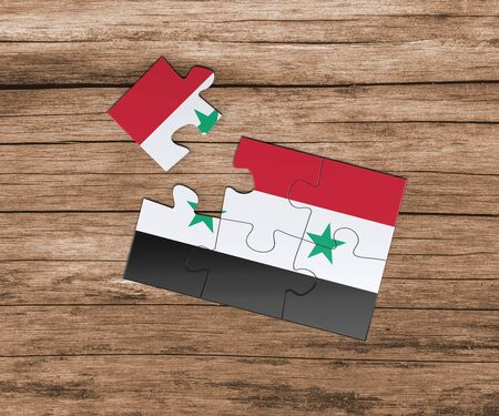 Syria national flag on jigsaw puzzle. One piece is missing. Danger concept.