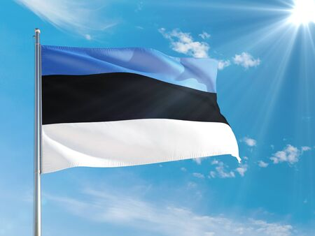 Estonia national flag waving in the wind against deep blue sky. High quality fabric. International relations concept. Stock fotó
