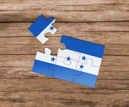 Honduras national flag on jigsaw puzzle. One piece is missing. Danger concept. 版權商用圖片