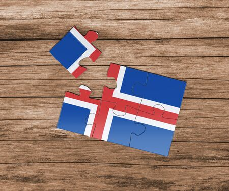 Iceland national flag on jigsaw puzzle. One piece is missing. Danger concept.