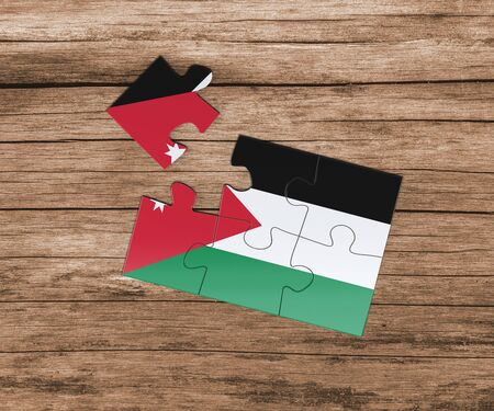 Jordan national flag on jigsaw puzzle. One piece is missing. Danger concept.