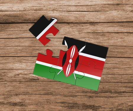 Kenya national flag on jigsaw puzzle. One piece is missing. Danger concept.