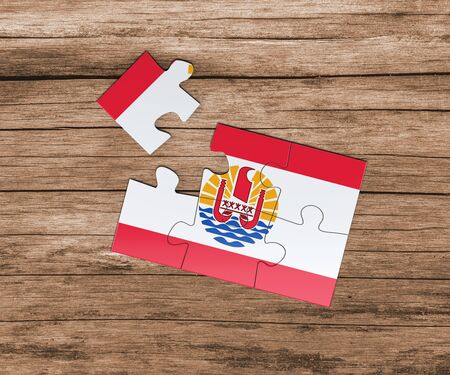 French Polynesia national flag on jigsaw puzzle. One piece is missing. Danger concept. Banque d'images