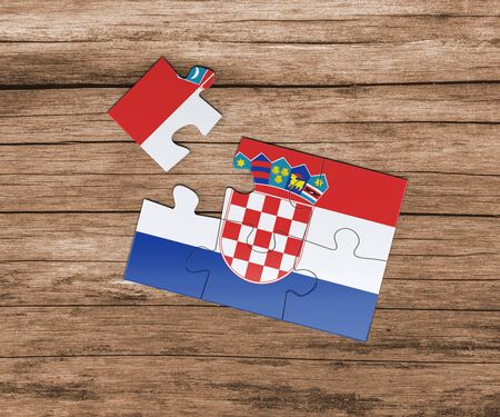 Croatia national flag on jigsaw puzzle. One piece is missing. Danger concept. 版權商用圖片