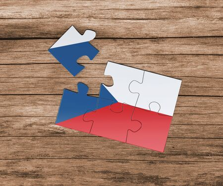 Czech Republic national flag on jigsaw puzzle. One piece is missing. Danger concept.
