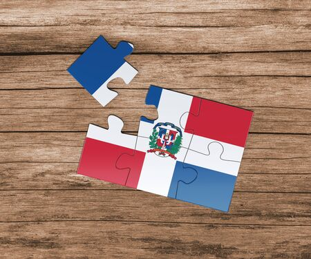 Dominican Republic national flag on jigsaw puzzle. One piece is missing. Danger concept.