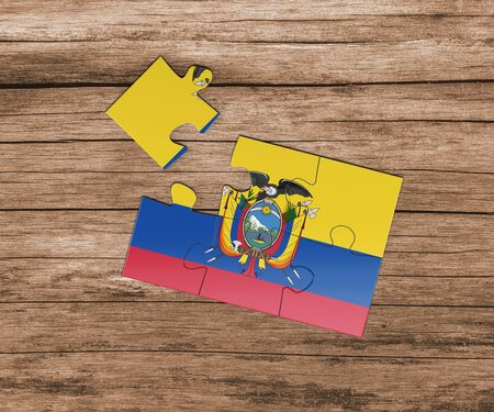 Ecuador national flag on jigsaw puzzle. One piece is missing. Danger concept.