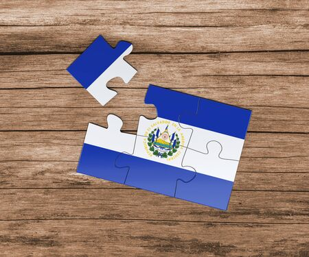 El Salvador national flag on jigsaw puzzle. One piece is missing. Danger concept.
