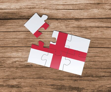 England national flag on jigsaw puzzle. One piece is missing. Danger concept.