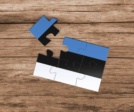 Estonia national flag on jigsaw puzzle. One piece is missing. Danger concept.