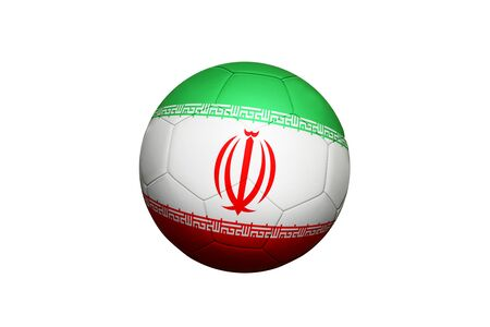 Iran flag on ball at corner kick position, soccer field background. National football theme on green grass.