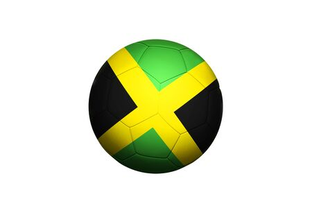 Jamaica flag on ball at corner kick position, soccer field background. National football theme on green grass.