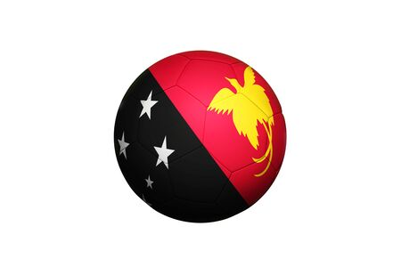 Papua New Guinea flag on ball at corner kick position, soccer field background. National football theme on green grass.