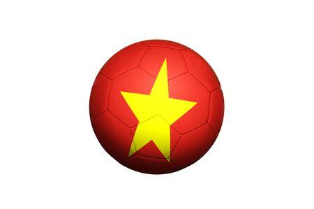 Vietnam flag on ball at corner kick position, soccer field background. National football theme on green grass.
