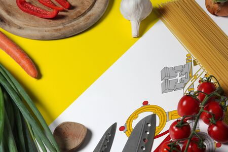 Vatican City flag on fresh vegetables and knife concept wooden table. Cooking concept with preparing background theme.
