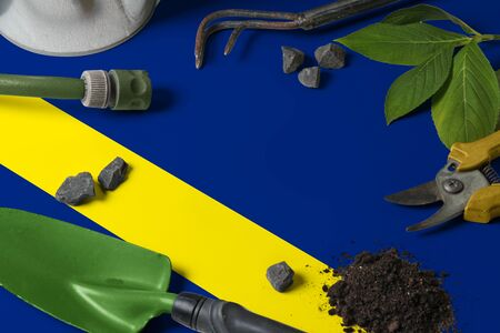 Curacao flag with gardening tools background on table. Spring in the garden concept with free copy space.