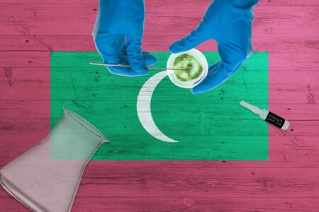 Maldives flag on laboratory table. Medical healthcare technologist holding COVID-19 swab collection kit, wearing blue protective gloves, epidemic concept.