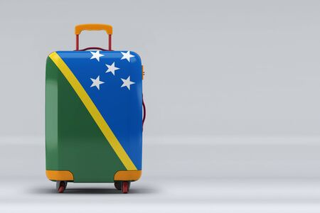 Solomon Islands national flag on a stylish suitcases on color background. Space for text. International travel and tourism concept. 3D rendering. Stok Fotoğraf