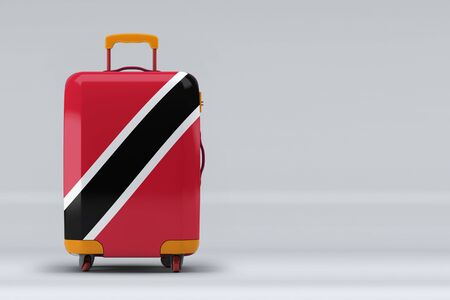 Trinidad And Tobago national flag on a stylish suitcases on color background. Space for text. International travel and tourism concept. 3D rendering.