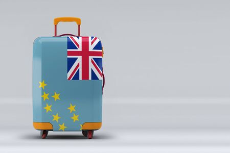 Tuvalu national flag on a stylish suitcases on color background. Space for text. International travel and tourism concept. 3D rendering.