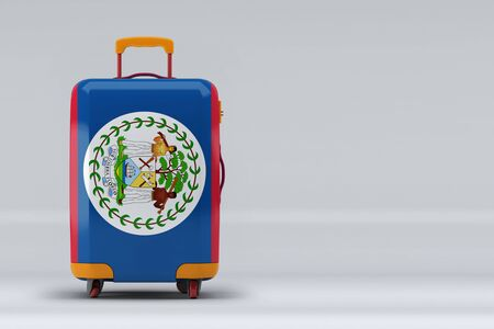 Belize national flag on a stylish suitcases on color background. Space for text. International travel and tourism concept. 3D rendering.