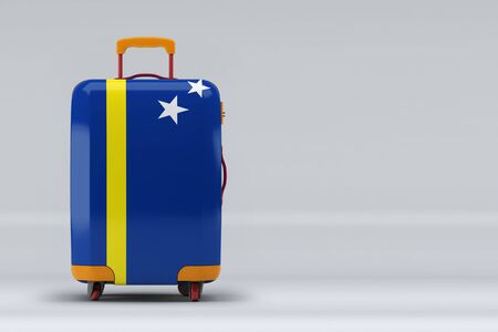 Curacao national flag on a stylish suitcases on color background. Space for text. International travel and tourism concept. 3D rendering.