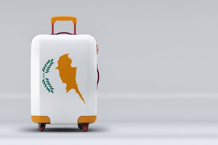 Cyprus national flag on a stylish suitcases on color background. Space for text. International travel and tourism concept. 3D rendering. Archivio Fotografico
