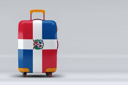 Dominican Republic national flag on a stylish suitcases on color background. Space for text. International travel and tourism concept. 3D rendering.