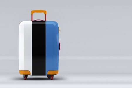 Estonia national flag on a stylish suitcases on color background. Space for text. International travel and tourism concept. 3D rendering.