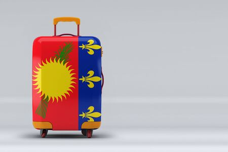 Guadeloupe national flag on a stylish suitcases on color background. Space for text. International travel and tourism concept. 3D rendering.