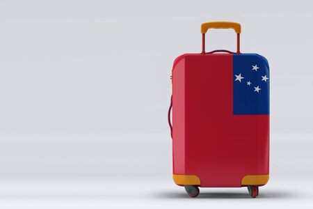 Samoa flag on a stylish suitcases back view on color background. Space for text. International travel and tourism concept. 3D rendering.