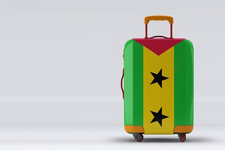 Sao Tome And Principe flag on a stylish suitcases back view on color background. Space for text. International travel and tourism concept. 3D rendering.