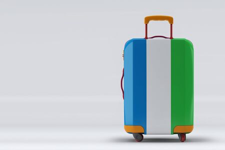 Sierra Leone flag on a stylish suitcases back view on color background. Space for text. International travel and tourism concept. 3D rendering. Archivio Fotografico
