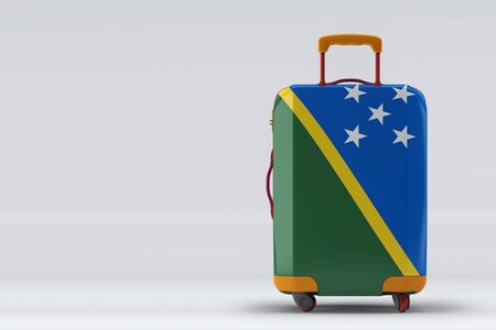 Solomon Islands flag on a stylish suitcases back view on color background. Space for text. International travel and tourism concept. 3D rendering.