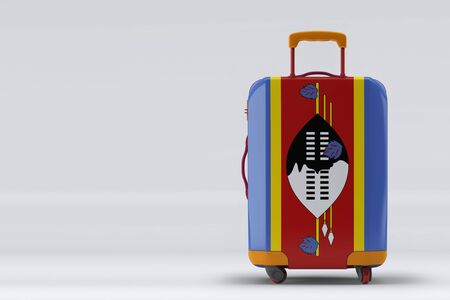 Swaziland flag on a stylish suitcases back view on color background. Space for text. International travel and tourism concept. 3D rendering.