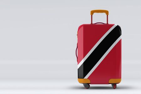 Trinidad And Tobago flag on a stylish suitcases back view on color background. Space for text. International travel and tourism concept. 3D rendering.