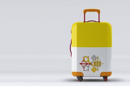 Vatican City flag on a stylish suitcases back view on color background. Space for text. International travel and tourism concept. 3D rendering.