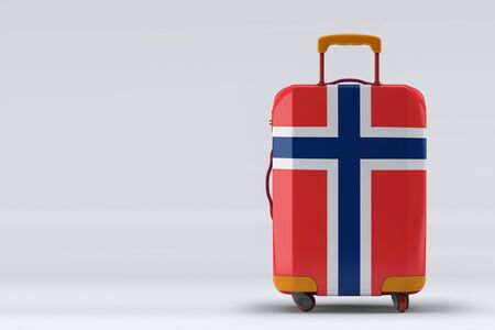 Bouvet Islands flag on a stylish suitcases back view on color background. Space for text. International travel and tourism concept. 3D rendering.