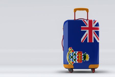Cayman Islands flag on a stylish suitcases back view on color background. Space for text. International travel and tourism concept. 3D rendering. Archivio Fotografico