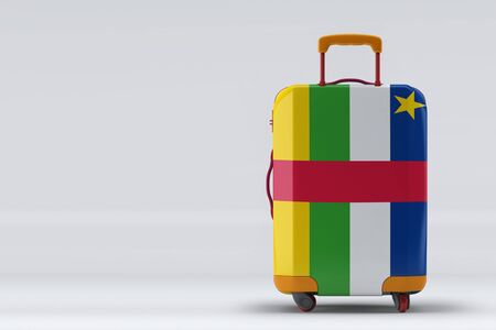 Central African Republic flag on a stylish suitcases back view on color background. Space for text. International travel and tourism concept. 3D rendering.