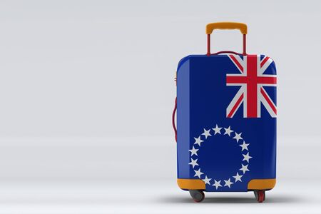 Cook Islands flag on a stylish suitcases back view on color background. Space for text. International travel and tourism concept. 3D rendering.