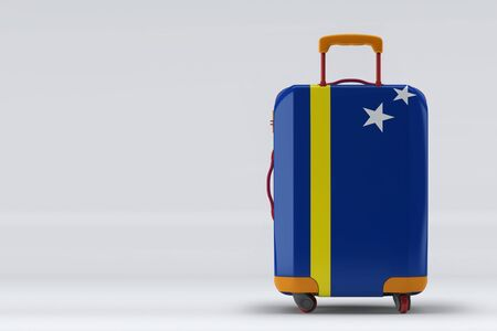 Curacao flag on a stylish suitcases back view on color background. Space for text. International travel and tourism concept. 3D rendering.