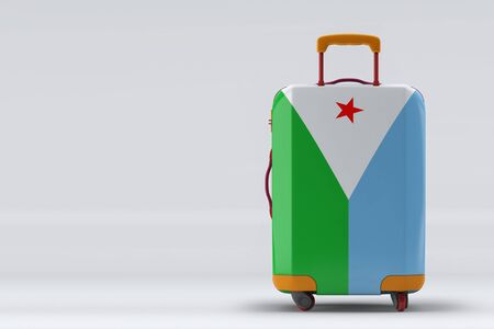 Djibouti flag on a stylish suitcases back view on color background. Space for text. International travel and tourism concept. 3D rendering.