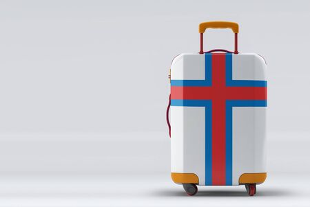 Faroe Islands flag on a stylish suitcases back view on color background. Space for text. International travel and tourism concept. 3D rendering. Archivio Fotografico
