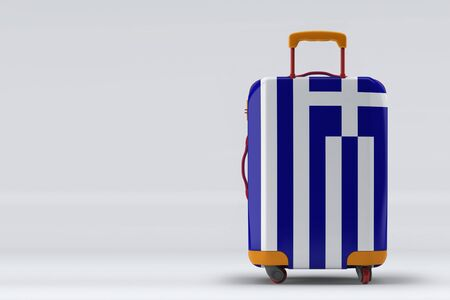 Greece flag on a stylish suitcases back view on color background. Space for text. International travel and tourism concept. 3D rendering.