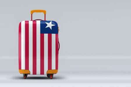 Liberia national flag on a stylish suitcases on color background. Space for text. International travel and tourism concept. 3D rendering.