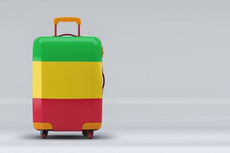 Mali national flag on a stylish suitcases on color background. Space for text. International travel and tourism concept. 3D rendering.