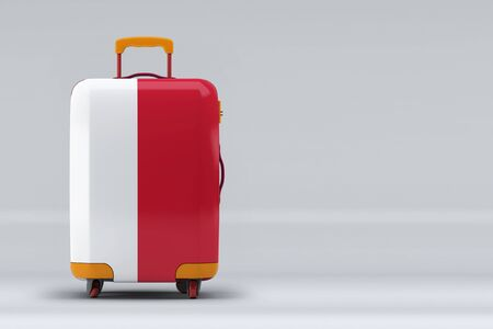 Monaco national flag on a stylish suitcases on color background. Space for text. International travel and tourism concept. 3D rendering.