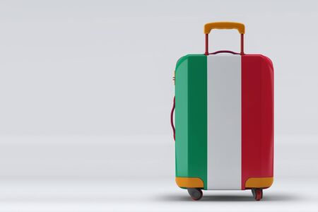 Hungary flag on a stylish suitcases back view on color background. Space for text. International travel and tourism concept. 3D rendering.