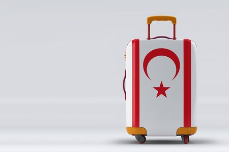 Northern Cyprus flag on a stylish suitcases back view on color background. Space for text. International travel and tourism concept. 3D rendering.